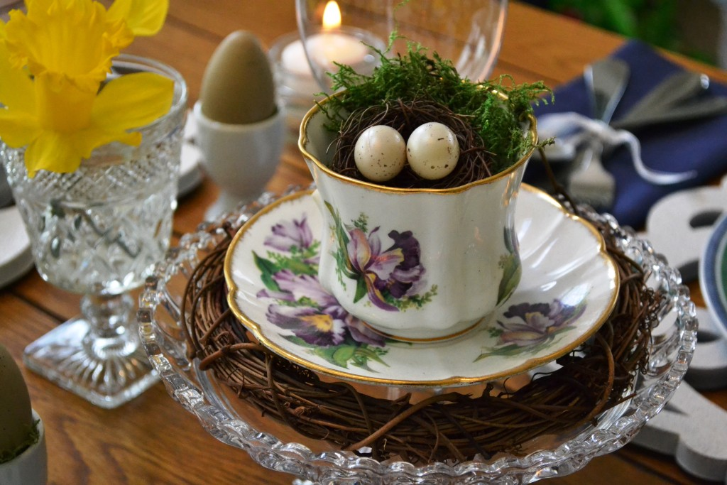 "Nothing says ""spring"" like a nest filled with eggs. From Our Easter Table Setting at thehousedownthelane.com"