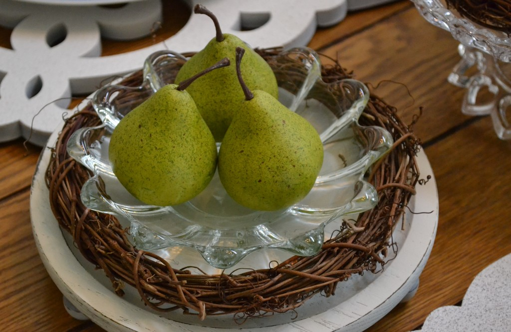 Miniature pears from our Easter table setting. thehousedownthelane.com #Spring #Easter #TableSetting