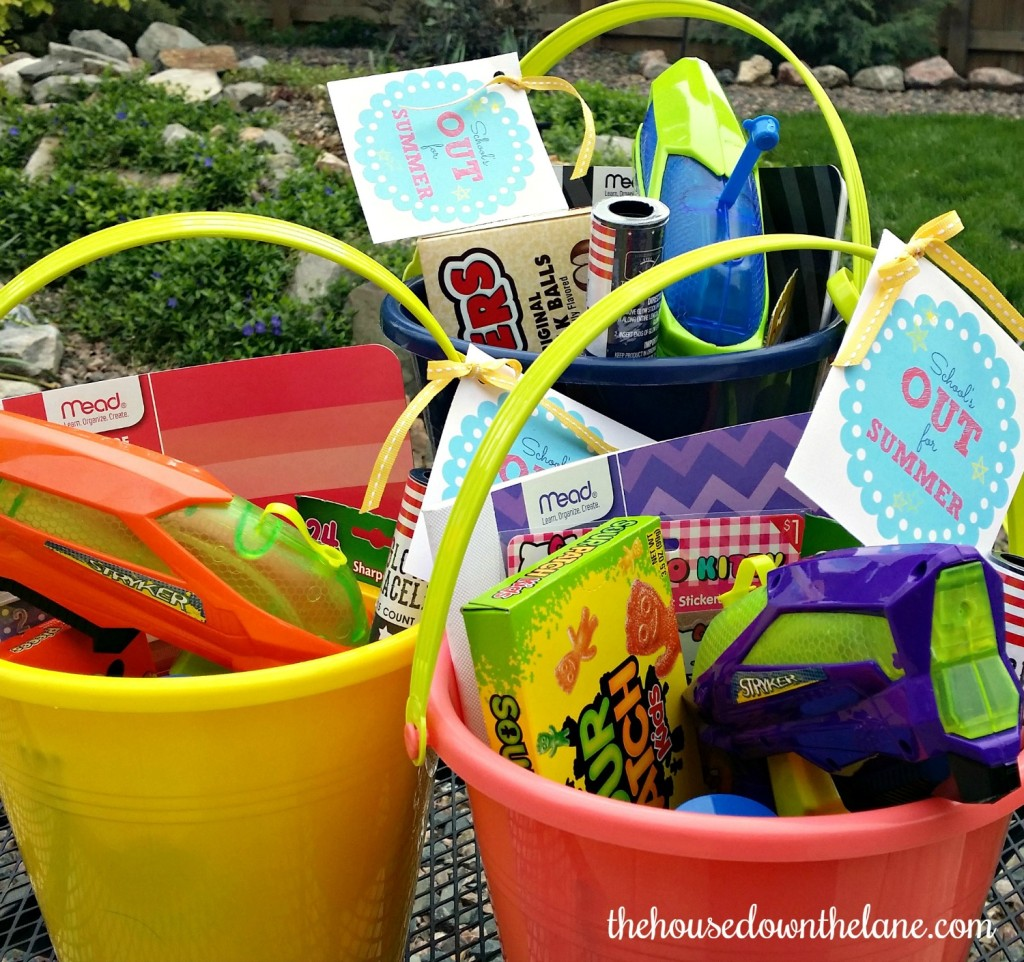 "School's {Almost} Out for Summer, and my kids have been working so hard to finish the year off strong. So, I decided it was time for the Summer Fun Fairy to bring them buckets of summer fun! Be sure to grab your FREE printable ""School's Out"" tags! From thehousedownthelane.com!"