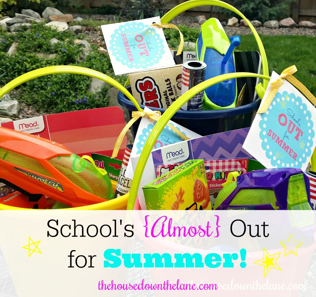 "School's {Almost} Out for Summer, and my kids have been working so hard to finish the year off successfully. So, I decided it was time for the Summer Fun Fairy to bring them buckets of summer fun! Be sure to grab your FREE printable ""School's Out"" tags! From thehousedownthelane.com!"