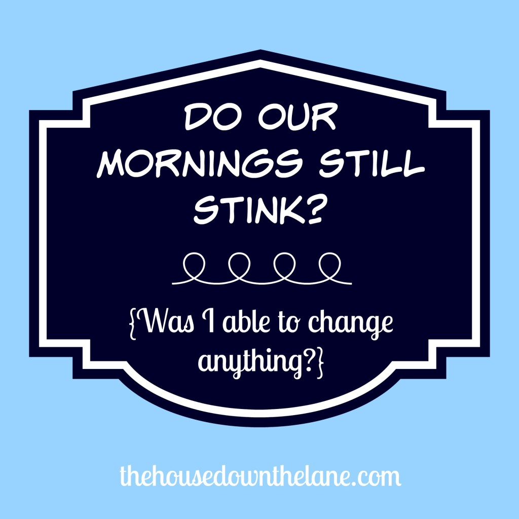 Do our mornings still stink? An update on my plan to change our stressful mornings! From thehousedownthelane.com.