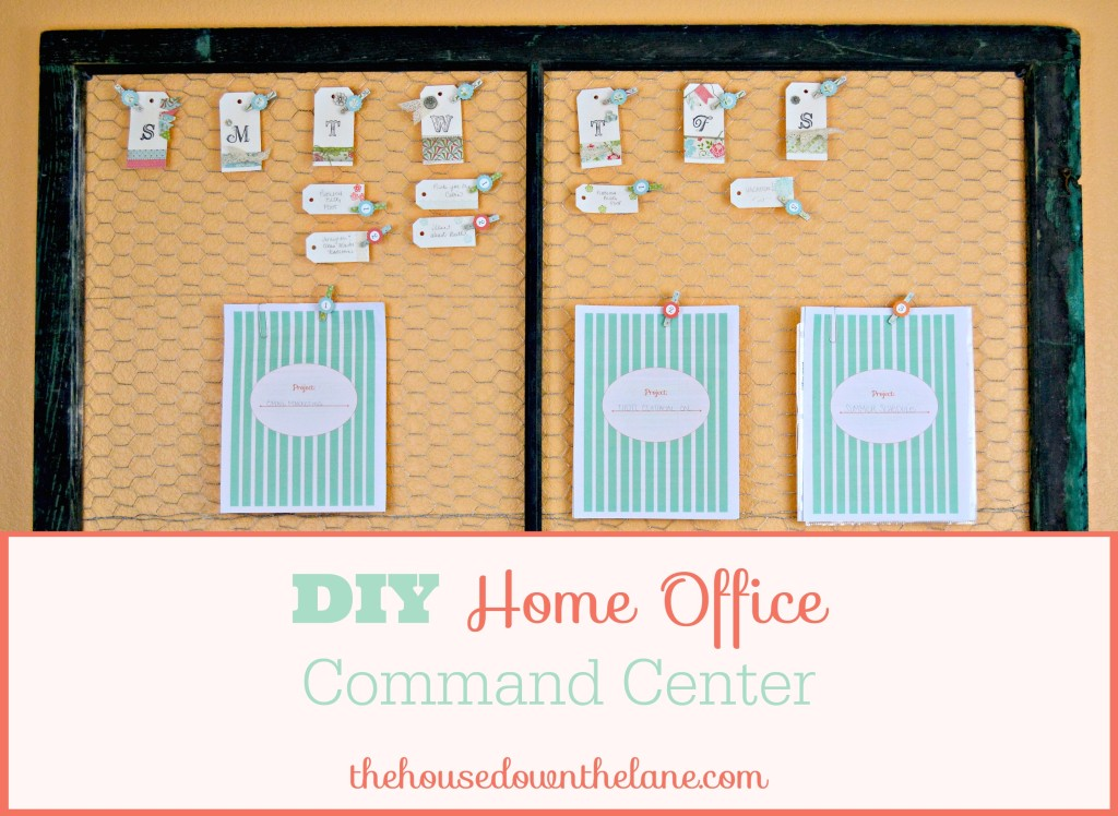 This DIY Home Office Command Center was easy to make but made a BIG impact on my home office organization! From thehousedownthelane.com.