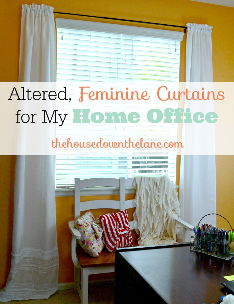 Super-easy Altered, Feminine Curtains for My Home Office via thehousedownthelane.com.