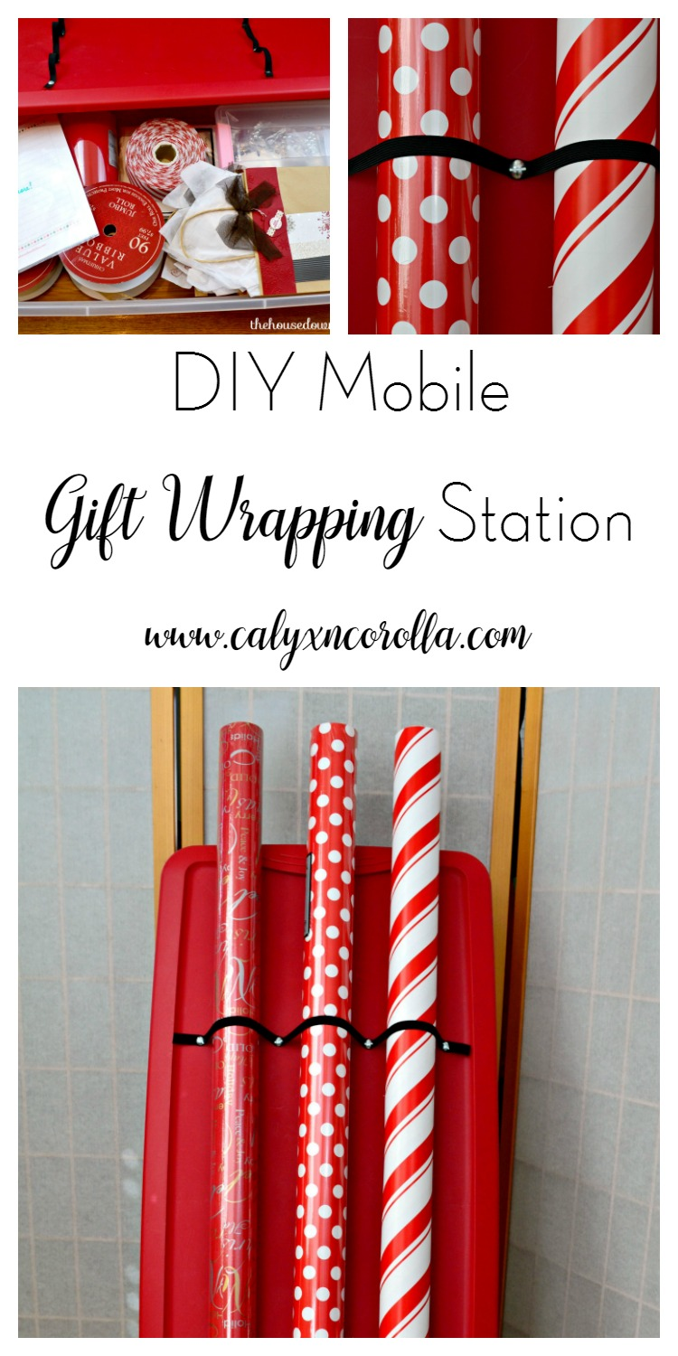 Is holiday gift wrapping a drag? Make it easier and more enjoyable by creating a DIY Mobile Gift Wrapping Station! And never run out of tape again! | Calyx and Corolla
