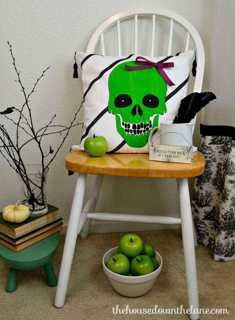 What do you get when you mix 16 bloggers with Paint-A-Pillow Kits from Cutting Edge Stencils AND a giveaway? A rockin' good time, that's what! This pillow was such a fun project, and the stencil was SO easy to use! Create & Share: Whimsical Stenciled Skull Pillow. | The House Down the Lane