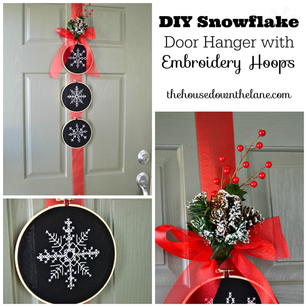 It's Day 4 of the Holiday Craft Party and the project of the day is wreaths! My contribution is a DIY Snowflake Door Hanger with Embroidery Hoops! | The House Down the Lane