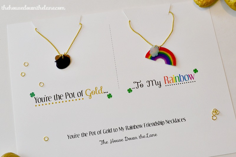 "I'm hanging out over at Sweet Tea & Saving Grace today sharing a tutorial for DIY Friendship Necklaces : ""You're the Pot of Gold to My Rainbow"" Friendship Necklaces! 