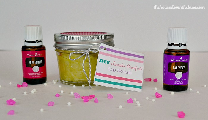 This DIY Lavender-Grapefruit Lip Scrub is easy to make, and you probably have most of the ingredients at home right now! It makes a great last-minute gift...that is if you don't decide to keep it for yourself! | The House Down the Lane