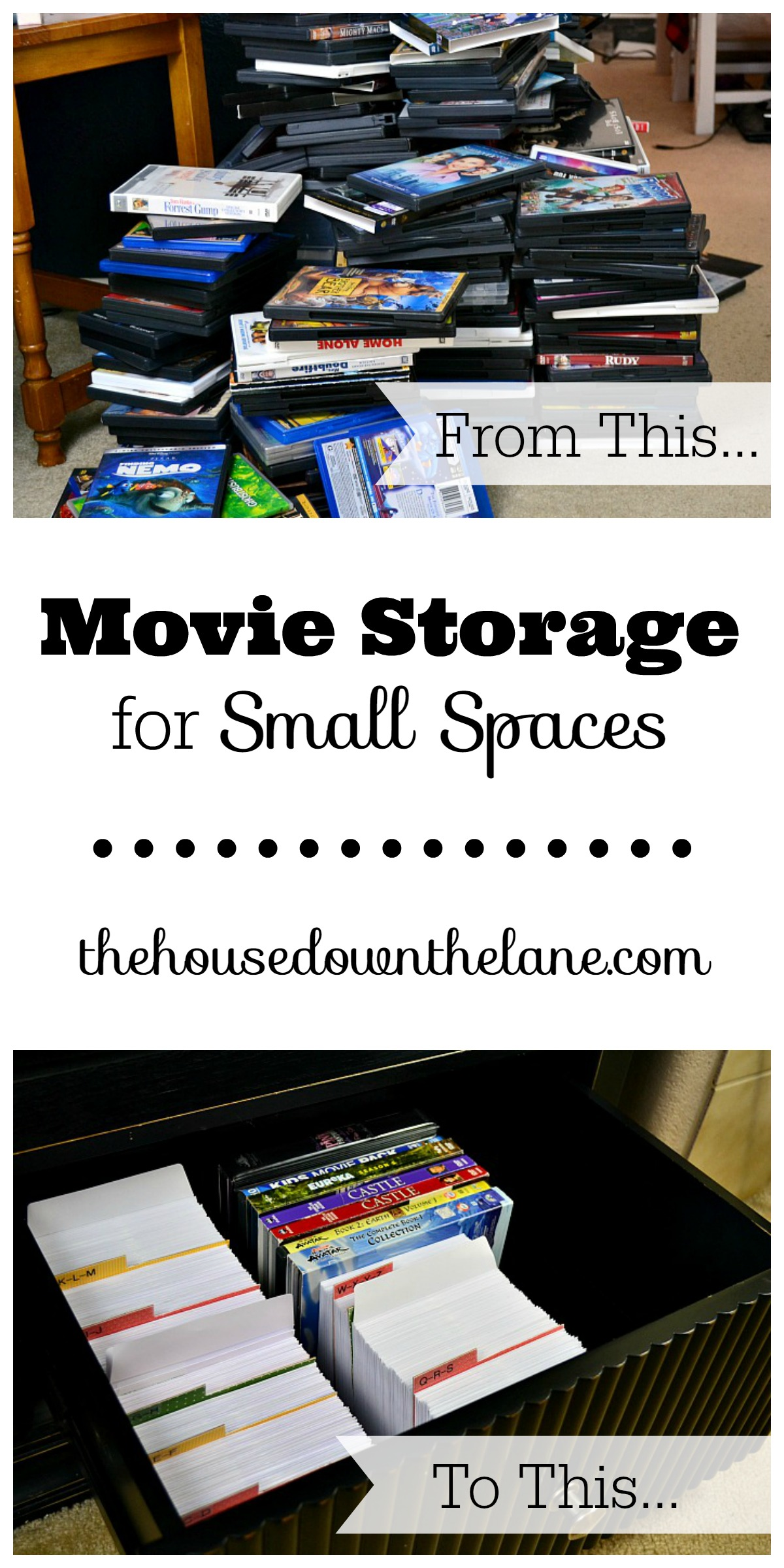 This DIY Movie Storage for Small Spaces project is a little time intensive but makes up for it in space gained! | The House Down the Lane