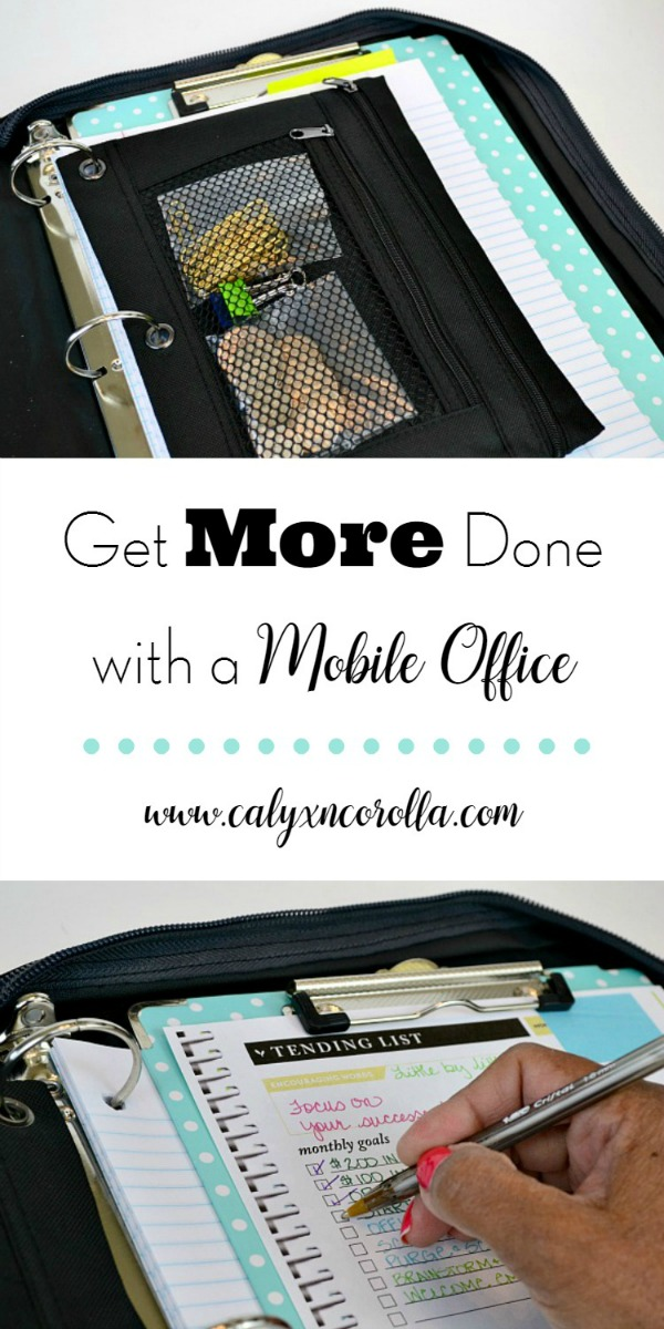 What if I said I'd found a way to turn sitting in the car, waiting for the kids time into getting all the things done time? You can use your down time and get more done with a mobile office! And you can put this DIY mobile office together with supplies you already have at home! #mobileoffice #timemanagement #productivity