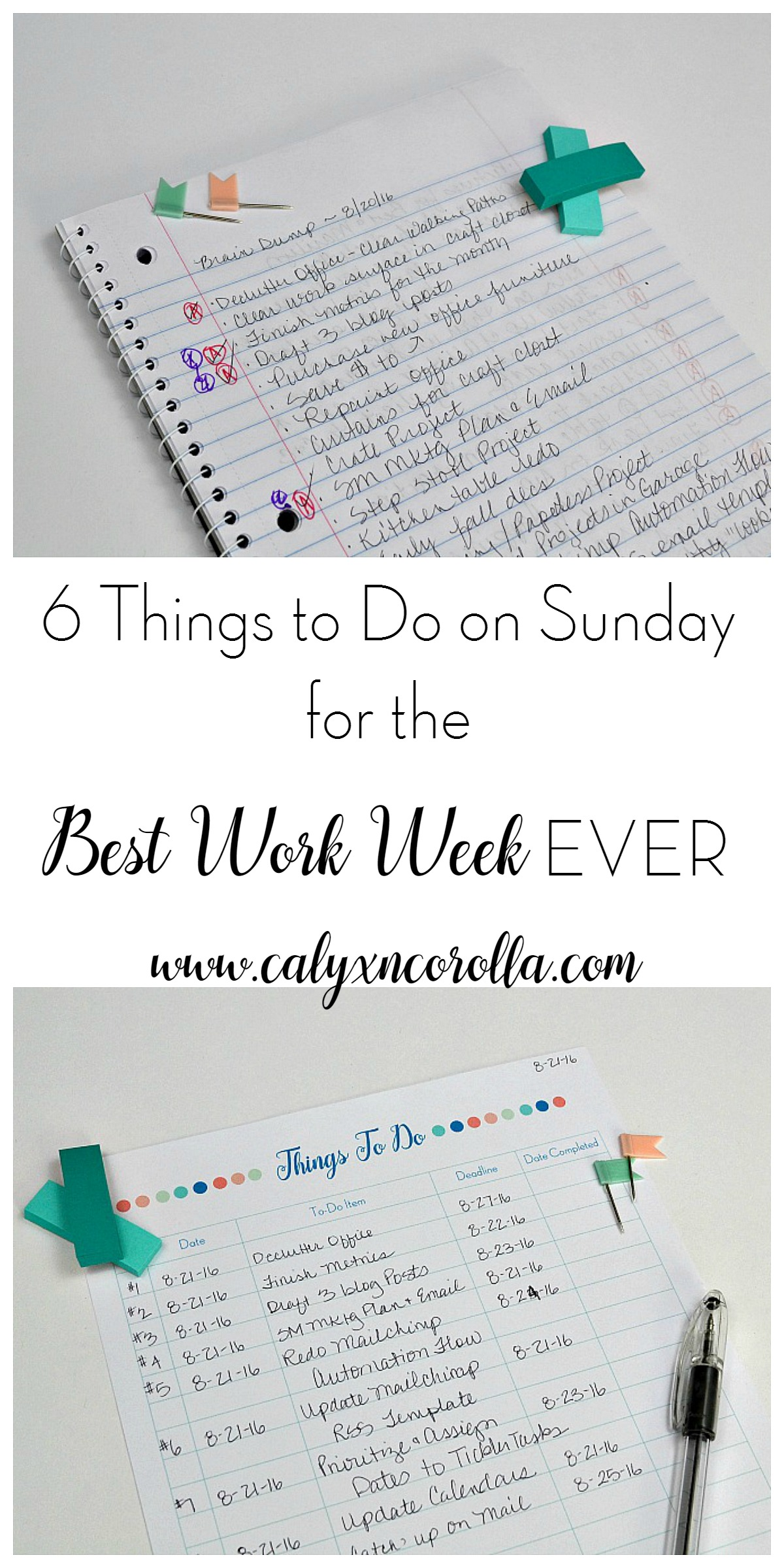 There's nothing worse than starting your week with chaos and frustration. And typically, when our week starts like that, it continues in that same vein until the weekend arrives. But there are a few things you can do to avoid a week of chaos, disorganization, and frustration. Here are 6 things to do on Sunday for the best work week EVER! | Calyx and Corolla