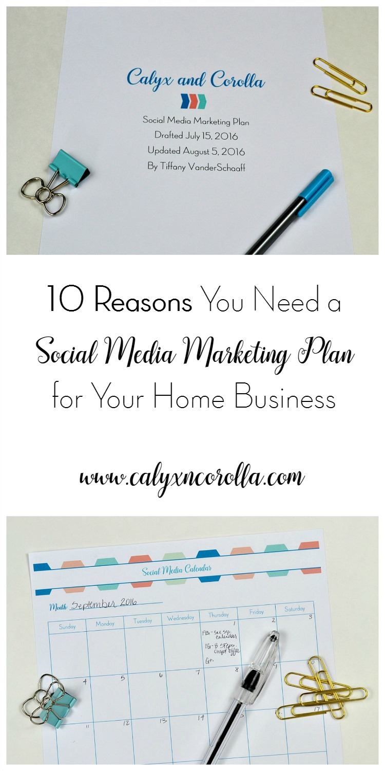 Social media is challenging and always changing (even for those of us who work with it every day), but there are a few things you can do to give yourself an advantage. One of those is to create a social media marketing plan. Don't believe me? Here are 10 reasons you need a social media marketing plan for your home business! | Calyx and Corolla
