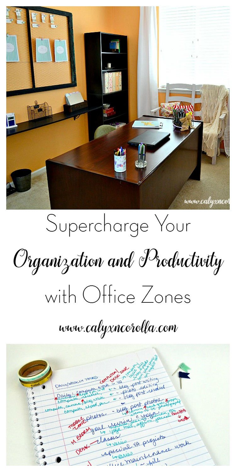 You don't need fancy tricks or gimmicks to improve your organization and productivity. All you need is a better set up for your home office. And it can often be completed in an afternoon. Learn to supercharge your organization and productivity by creating office zones! | Calyx and Corolla