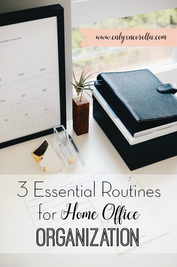 Office organization is challenging, especially when you work from home.But by developing a few routines, you can create a clutter-free workspace and ensure that it stays organized. Don't miss the 3 essential routines for home office organization and the steps required to start implementing them right away! #office #homeoffice #workspace #homeofficeorganization #organization