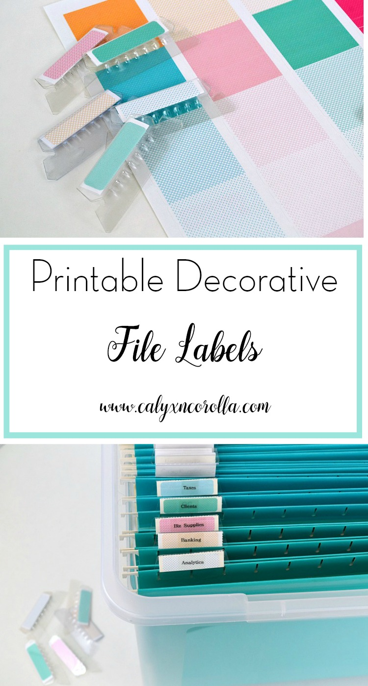 Adding extra aesthetic touches to my paper organizing not only makes it pleasing to the eye, it also helps to motivate me to maintain those beautiful and organized files. Here's a set of printable decorative file labels that you can use in your home office for organization and a little extra motivation! | Calyx and Corolla