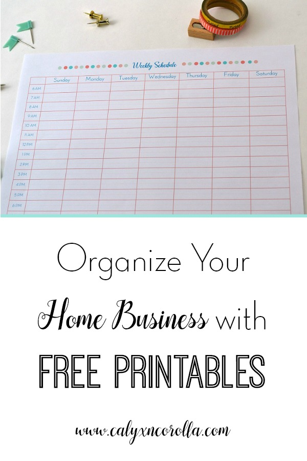 I love free printables! And there are 9 in this post that I can't wait to use to organize my home business! | Organize Your Home Business with Printables | Calyx and Corolla
