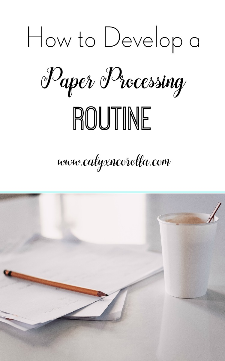 Developing a regular paper processing routine is the only way to truly conquer home office paper clutter. Today, I'm taking you through a basic paper processing routine that you can tweak and make your own and sharing a few of my favorite tools for making your paper processing routine easier! | Calyx and Corolla